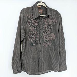 Roar Poplin Douce  Men's Long Sleeve Embroidered